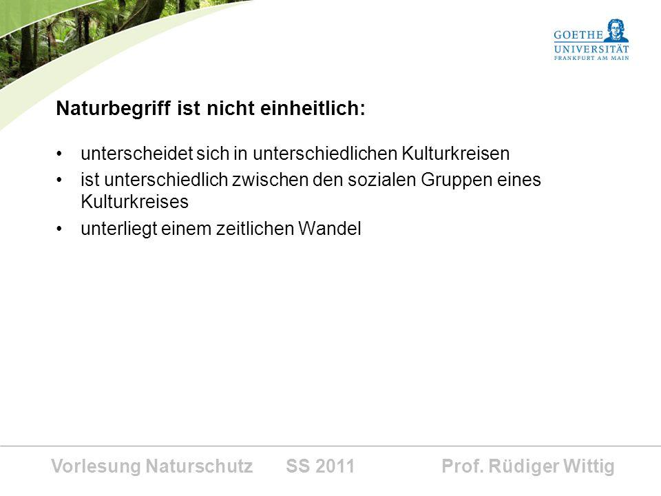 Vorlesung Naturschutz SS 2011 Prof. Rüdiger Wittig Naturbegriff ist nicht einheitlich: unterscheidet sich in unterschiedlichen Kulturkreisen ist unter