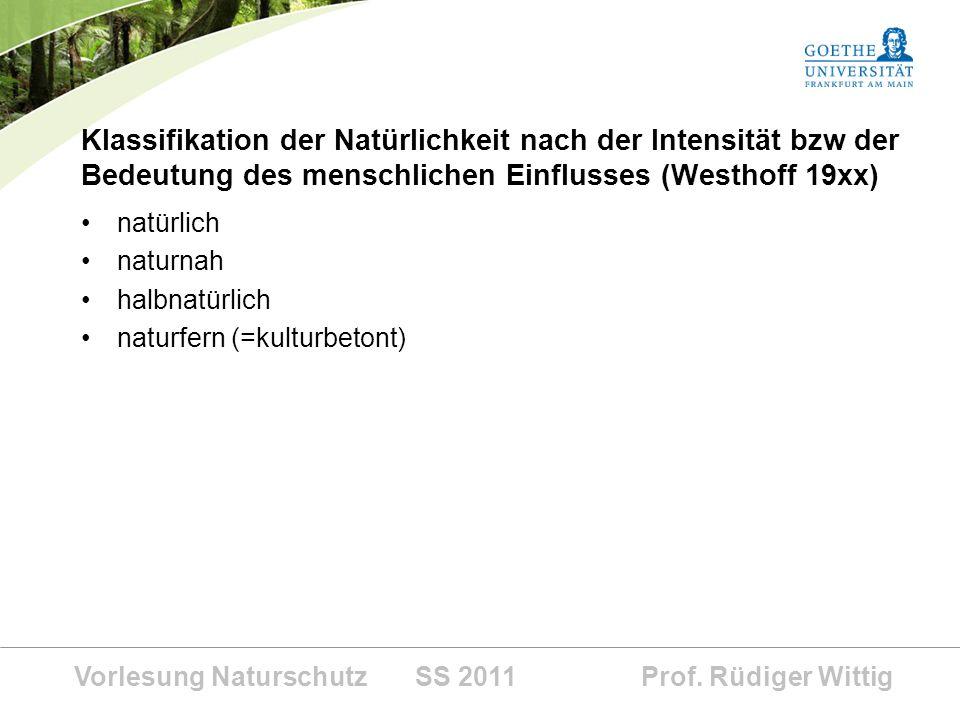 Vorlesung Naturschutz SS 2011 Prof. Rüdiger Wittig Klassifikation der Natürlichkeit nach der Intensität bzw der Bedeutung des menschlichen Einflusses
