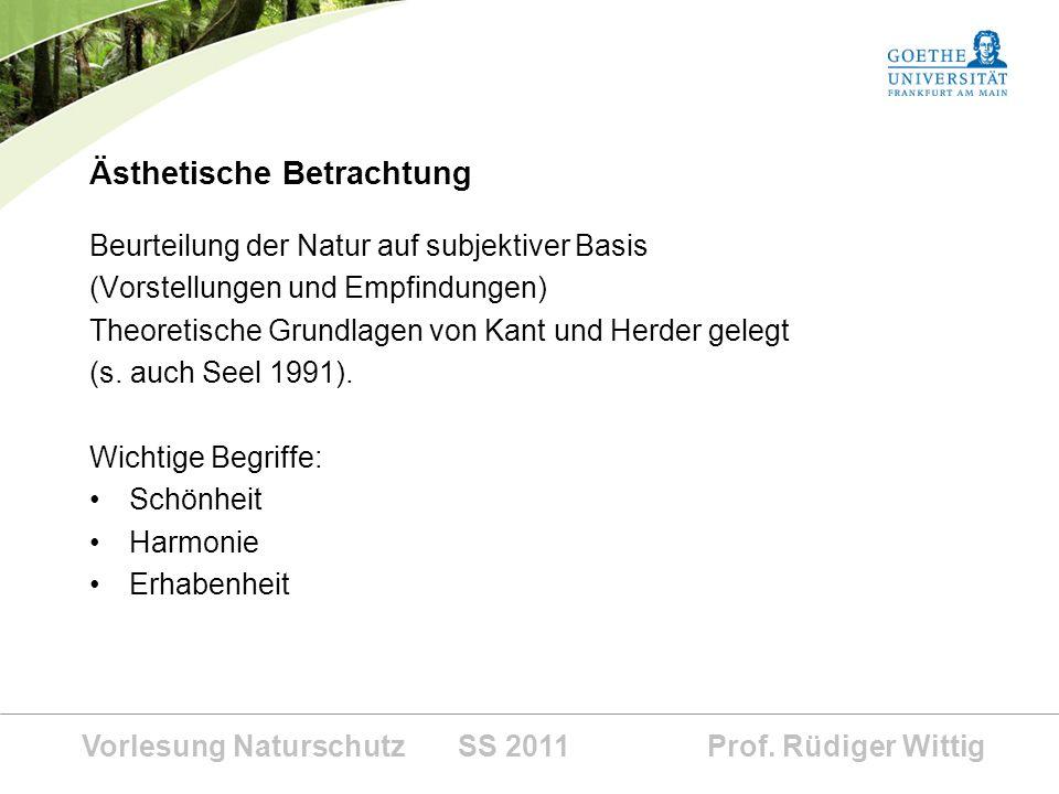 Vorlesung Naturschutz SS 2011 Prof. Rüdiger Wittig Ästhetische Betrachtung Beurteilung der Natur auf subjektiver Basis (Vorstellungen und Empfindungen