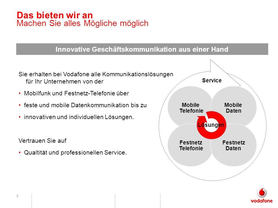 22 Das bieten wir an Machen Sie alles Mögliche möglich Innovative Geschäftskommunikation aus einer Hand Sie erhalten bei Vodafone alle Kommunikationsl