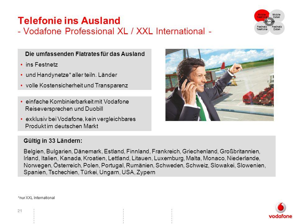 21 Telefonie ins Ausland - Vodafone Professional XL / XXL International - Die umfassenden Flatrates für das Ausland ins Festnetz und Handynetze* aller