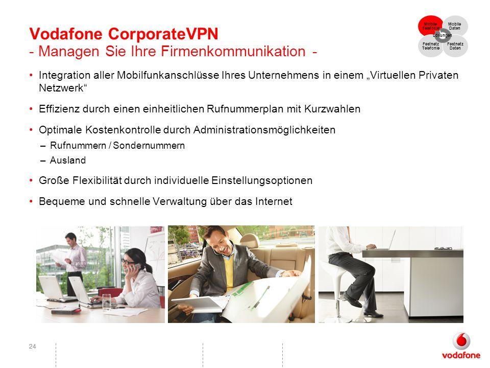 24 Vodafone CorporateVPN - Managen Sie Ihre Firmenkommunikation - Integration aller Mobilfunkanschlüsse Ihres Unternehmens in einem Virtuellen Private