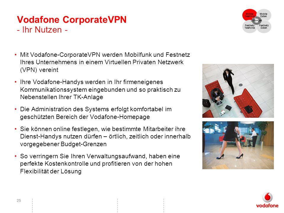 25 Vodafone CorporateVPN - Ihr Nutzen - Mit Vodafone-CorporateVPN werden Mobilfunk und Festnetz Ihres Unternehmens in einem Virtuellen Privaten Netzwe