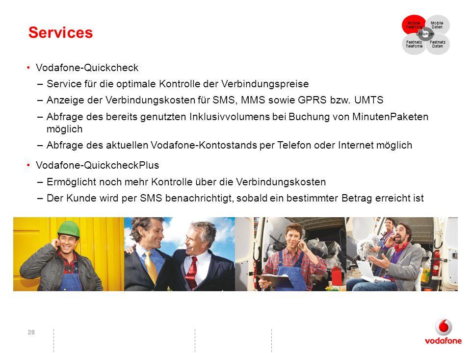 28 Services Vodafone-Quickcheck –Service für die optimale Kontrolle der Verbindungspreise –Anzeige der Verbindungskosten für SMS, MMS sowie GPRS bzw.