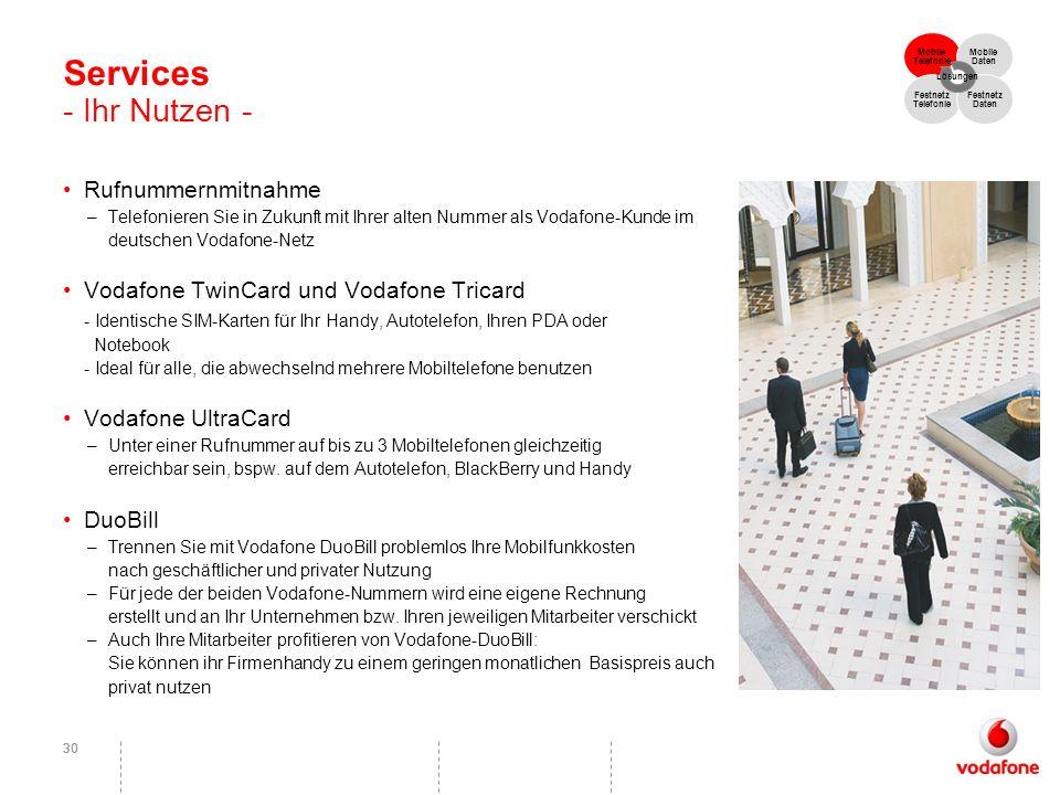 30 Services - Ihr Nutzen - Rufnummernmitnahme –Telefonieren Sie in Zukunft mit Ihrer alten Nummer als Vodafone-Kunde im deutschen Vodafone-Netz Vodafo