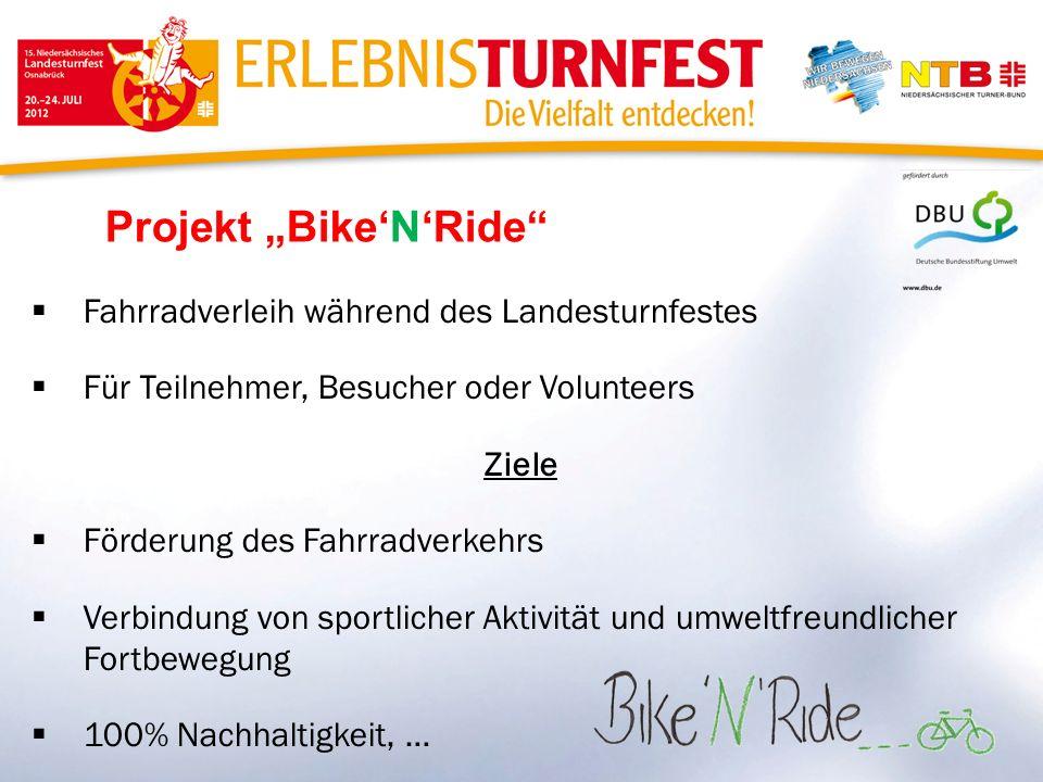Projekt BikeNRide Fahrradverleih während des Landesturnfestes Für Teilnehmer, Besucher oder Volunteers Ziele Förderung des Fahrradverkehrs Verbindung von sportlicher Aktivität und umweltfreundlicher Fortbewegung 100% Nachhaltigkeit, …