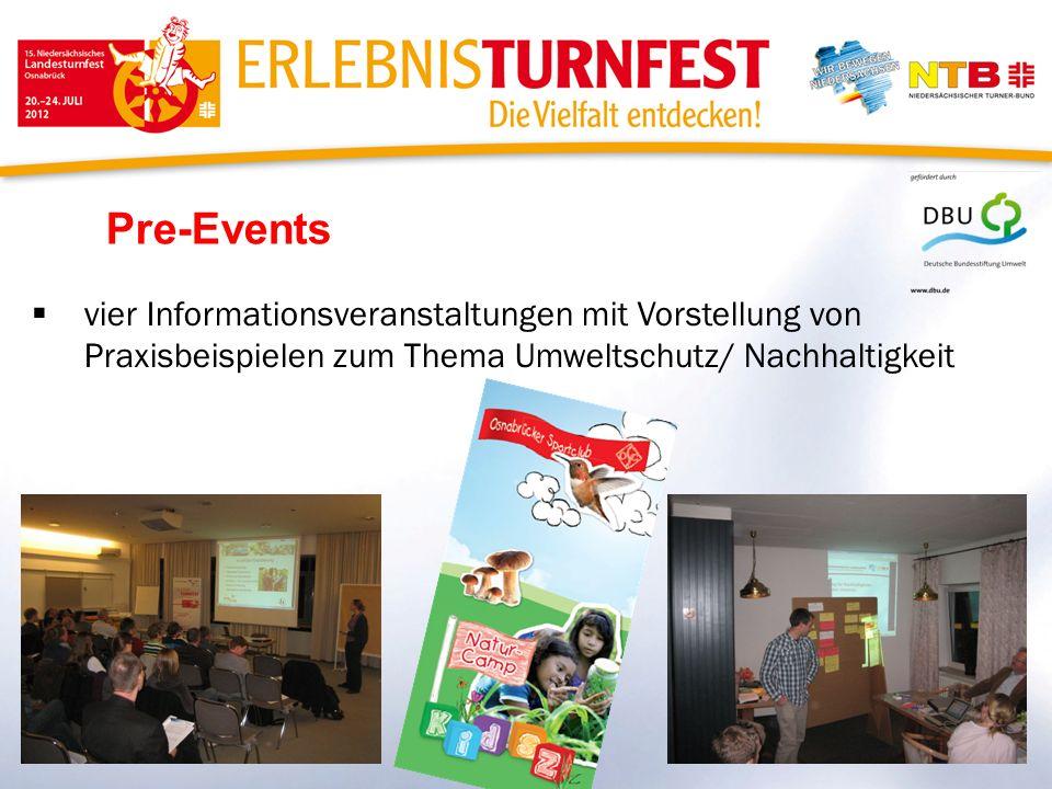 Pre-Events vier Informationsveranstaltungen mit Vorstellung von Praxisbeispielen zum Thema Umweltschutz/ Nachhaltigkeit
