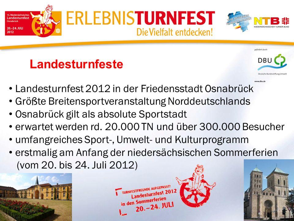 Landesturnfeste Landesturnfest 2012 in der Friedensstadt Osnabrück Größte Breitensportveranstaltung Norddeutschlands Osnabrück gilt als absolute Sport