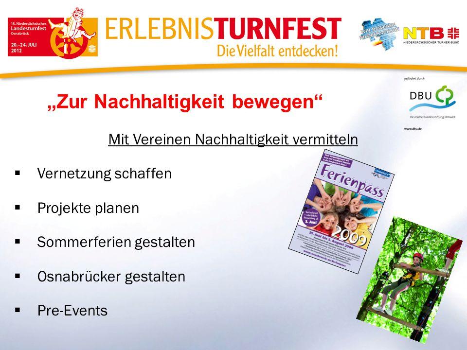 Zur Nachhaltigkeit bewegen Mit Vereinen Nachhaltigkeit vermitteln Vernetzung schaffen Projekte planen Sommerferien gestalten Osnabrücker gestalten Pre-Events