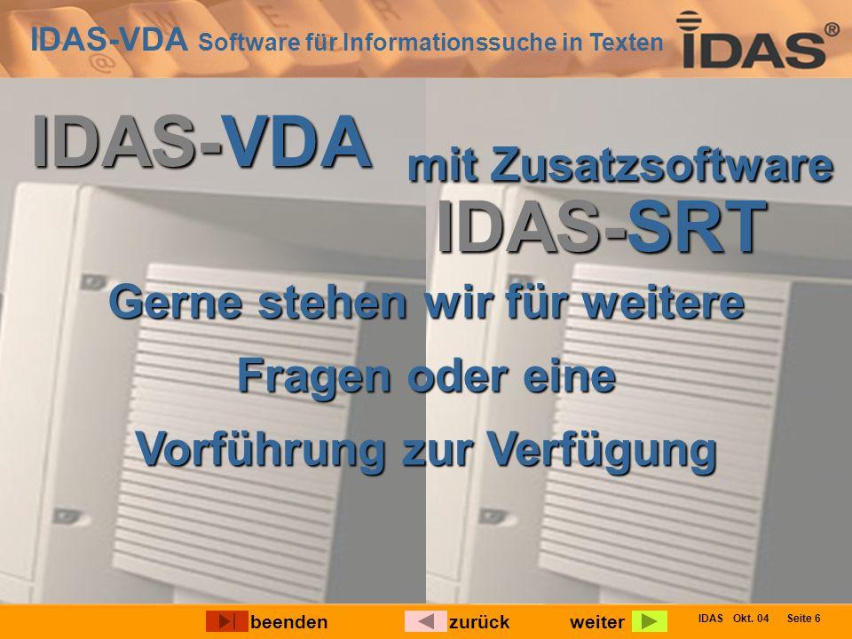 IDAS-VDA Software für Informationssuche in Texten IDAS Okt.