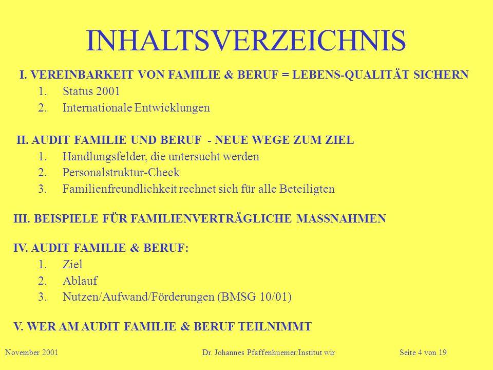 INHALTSVERZEICHNIS I. VEREINBARKEIT VON FAMILIE & BERUF = LEBENS-QUALITÄT SICHERN 1.Status 2001 2.Internationale Entwicklungen II. AUDIT FAMILIE UND B