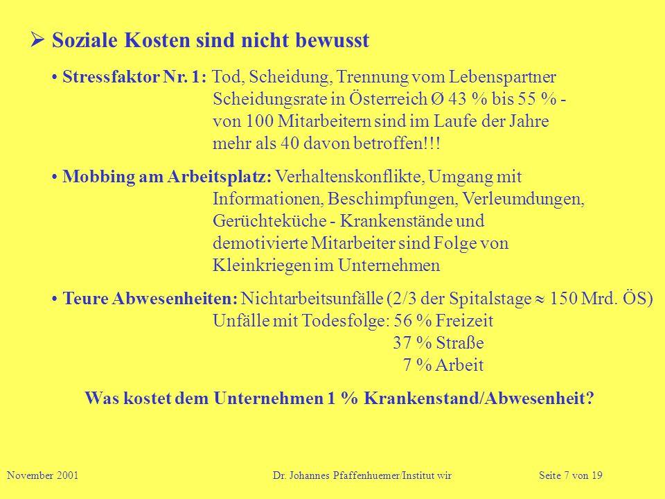 Soziale Kosten sind nicht bewusst Stressfaktor Nr. 1: Tod, Scheidung, Trennung vom Lebenspartner Scheidungsrate in Österreich Ø 43 % bis 55 % - von 10