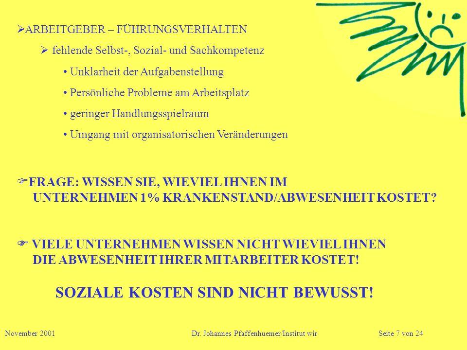 ARBEITGEBER – FÜHRUNGSVERHALTEN fehlende Selbst-, Sozial- und Sachkompetenz Unklarheit der Aufgabenstellung Persönliche Probleme am Arbeitsplatz gerin