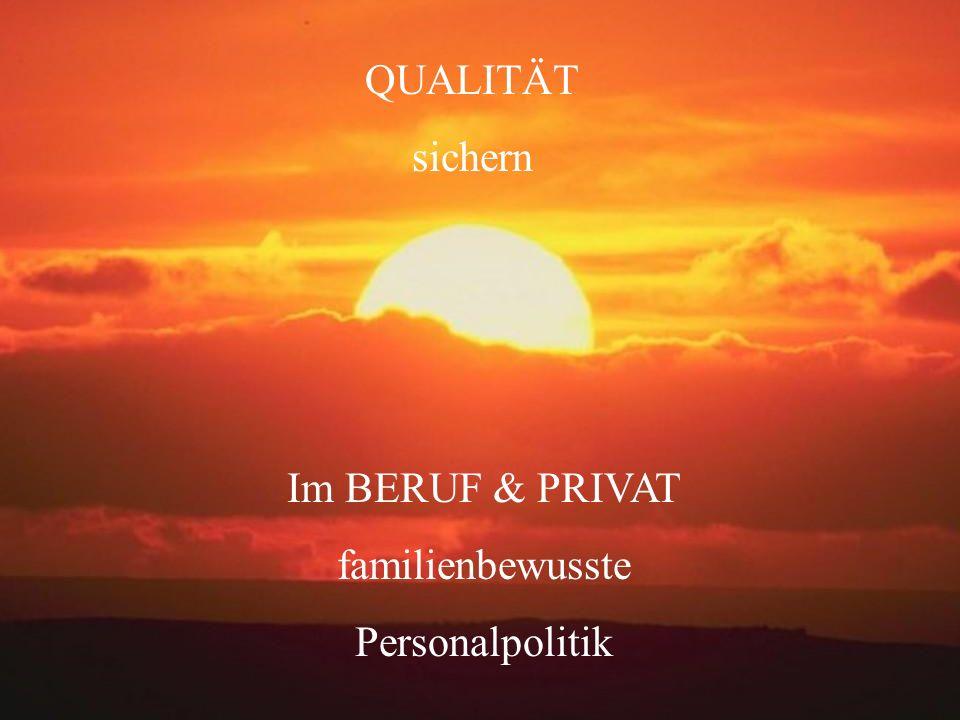 QUALITÄT sichern Im BERUF & PRIVAT familienbewusste Personalpolitik