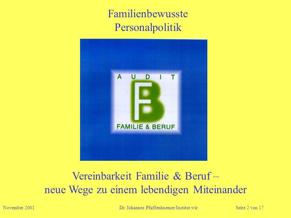 Familienbewusste Personalpolitik November 2001 Dr. Johannes Pfaffenhuemer/Institut wirSeite 2 von 17 Vereinbarkeit Familie & Beruf – neue Wege zu eine