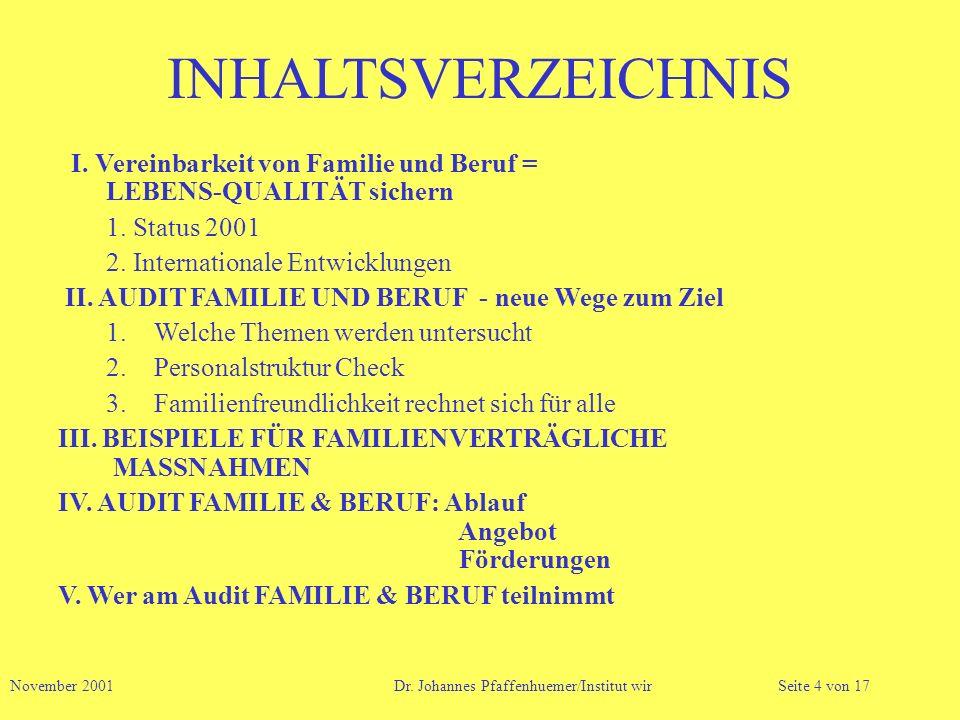INHALTSVERZEICHNIS I. Vereinbarkeit von Familie und Beruf = LEBENS-QUALITÄT sichern 1. Status 2001 2. Internationale Entwicklungen II. AUDIT FAMILIE U