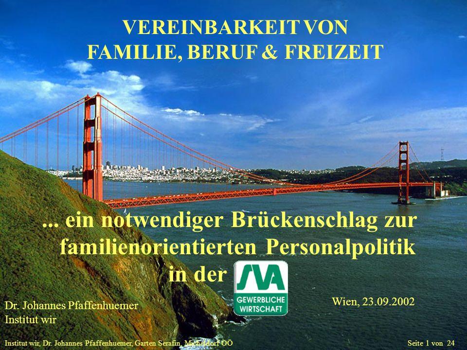 Institut wir, Dr. Johannes Pfaffenhuemer, Garten Serafin, Micheldorf OÖ Seite 1 von 24 VEREINBARKEIT VON FAMILIE, BERUF & FREIZEIT... ein notwendiger