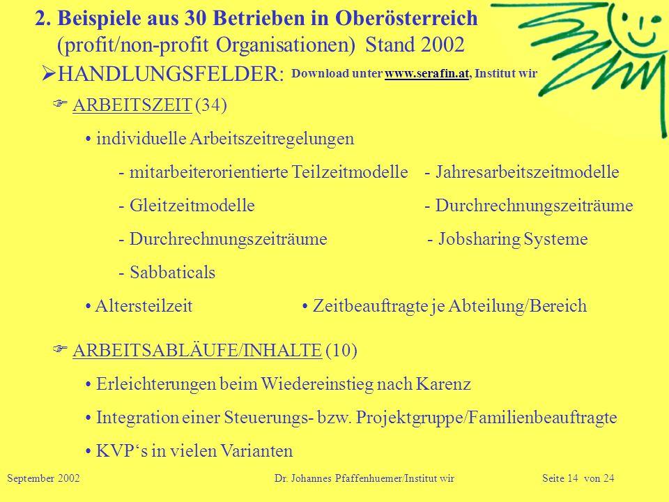 2. Beispiele aus 30 Betrieben in Oberösterreich (profit/non-profit Organisationen) Stand 2002 HANDLUNGSFELDER: ARBEITSZEIT (34) individuelle Arbeitsze
