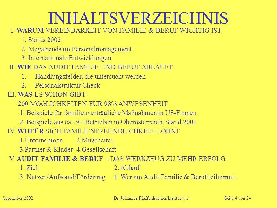 INHALTSVERZEICHNIS I. WARUM VEREINBARKEIT VON FAMILIE & BERUF WICHTIG IST 1. Status 2002 2. Megatrends im Personalmanagement 3. Internationale Entwick