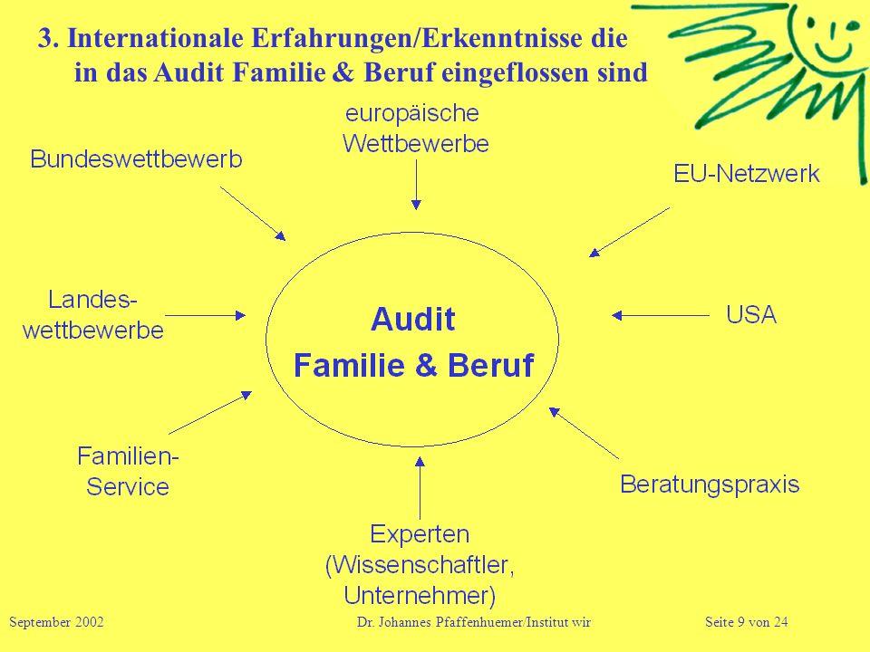 3. Internationale Erfahrungen/Erkenntnisse die in das Audit Familie & Beruf eingeflossen sind September 2002 Dr. Johannes Pfaffenhuemer/Institut wirSe