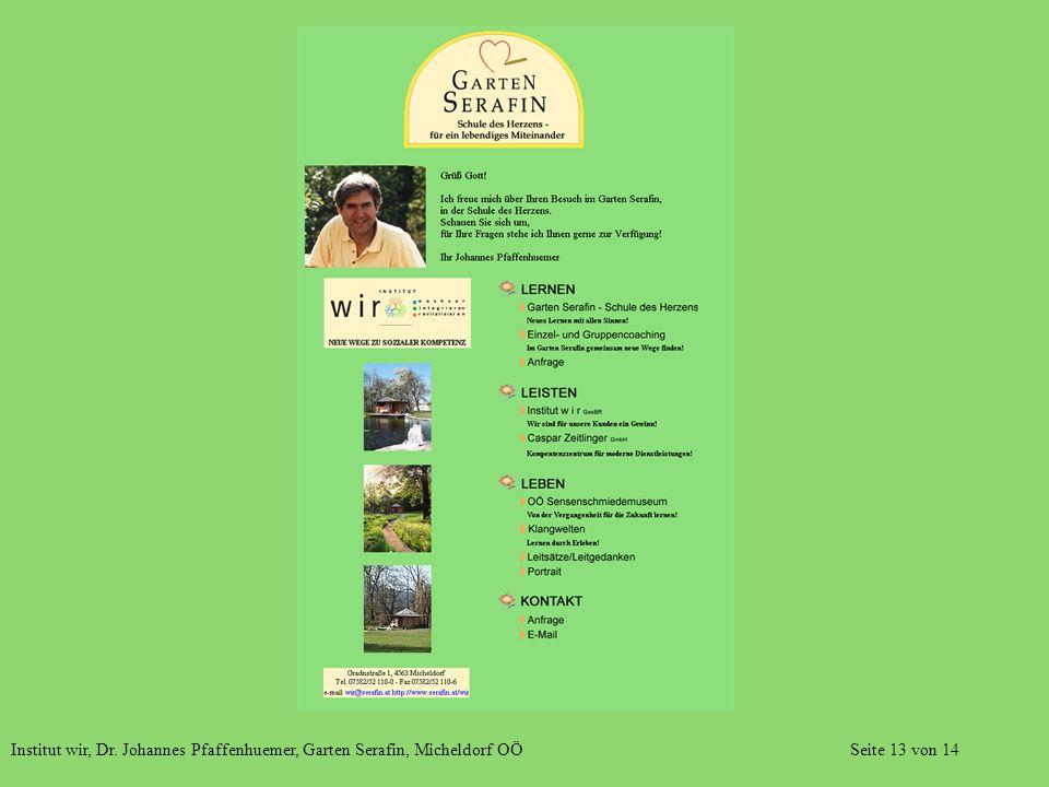 Institut wir, Dr. Johannes Pfaffenhuemer, Garten Serafin, Micheldorf OÖ Seite 13 von 14