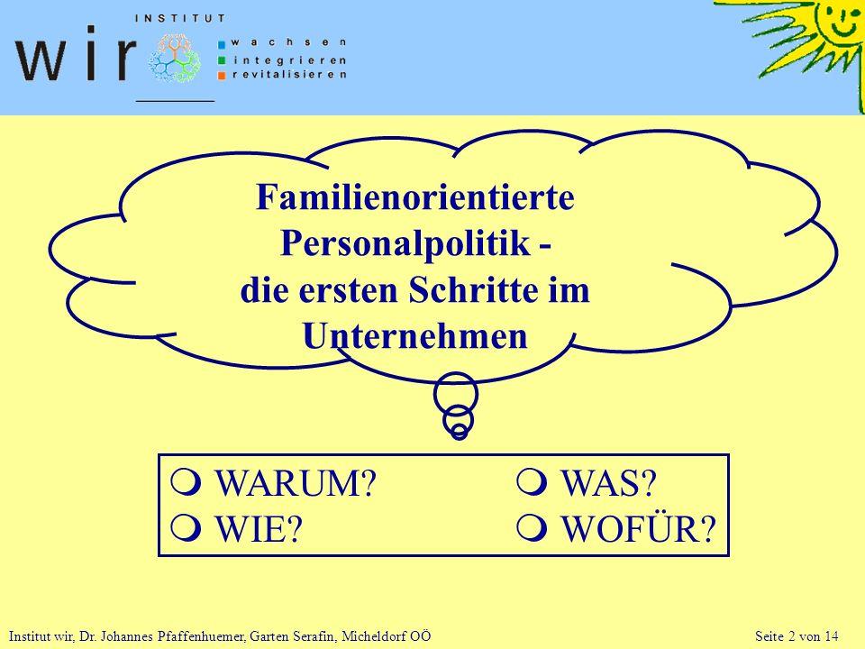 Institut wir, Dr. Johannes Pfaffenhuemer, Garten Serafin, Micheldorf OÖ Seite 2 von 14 Familienorientierte Personalpolitik - die ersten Schritte im Un