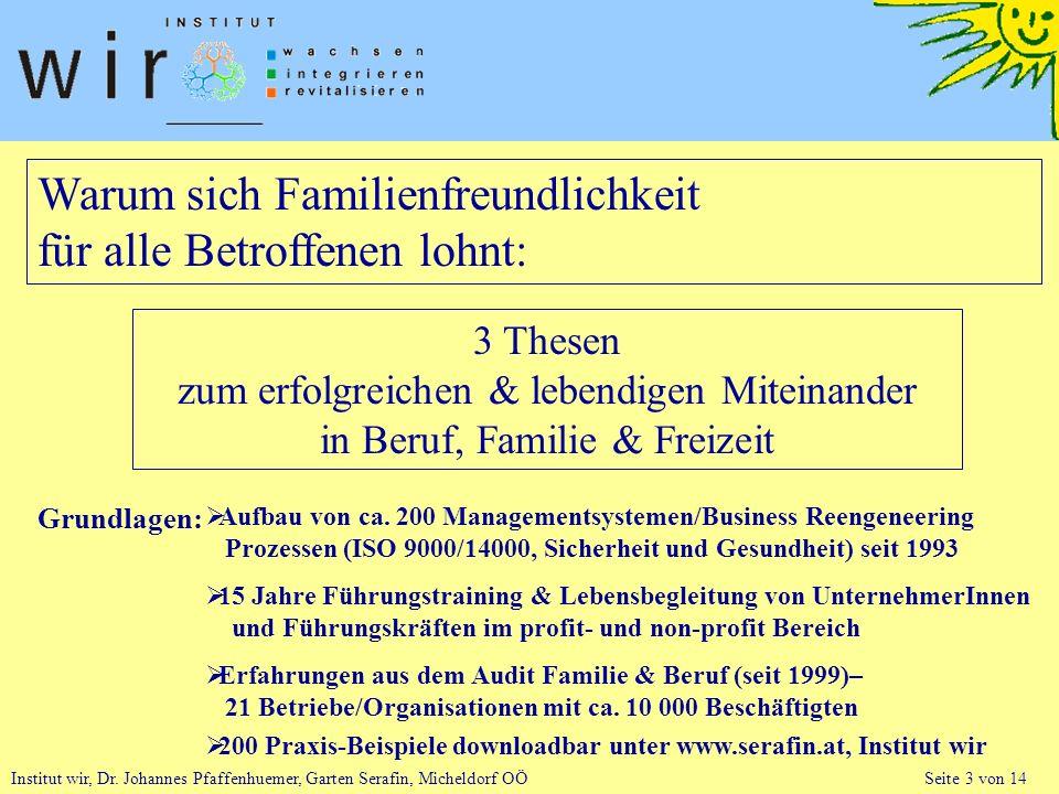 Institut wir, Dr. Johannes Pfaffenhuemer, Garten Serafin, Micheldorf OÖ Seite 3 von 14 Warum sich Familienfreundlichkeit für alle Betroffenen lohnt: 3