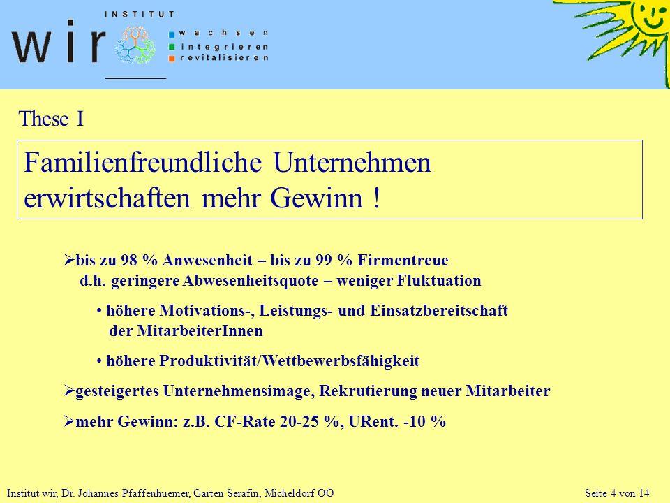 Institut wir, Dr. Johannes Pfaffenhuemer, Garten Serafin, Micheldorf OÖ Seite 4 von 14 Familienfreundliche Unternehmen erwirtschaften mehr Gewinn ! bi