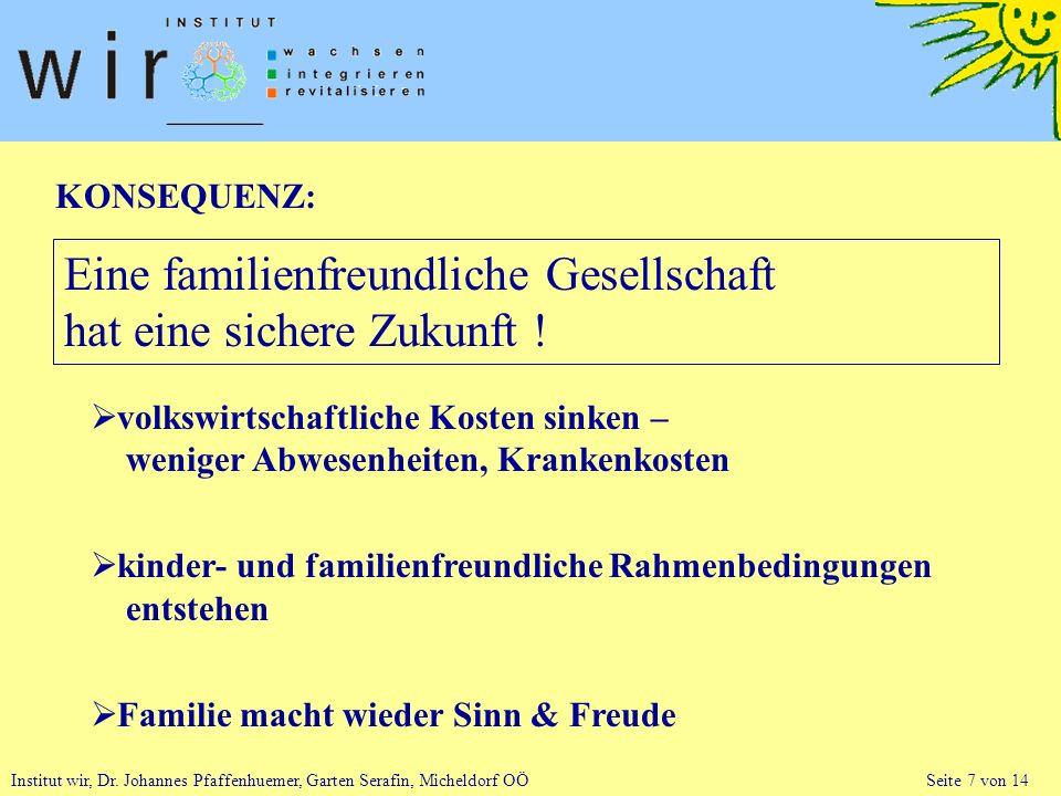 Institut wir, Dr. Johannes Pfaffenhuemer, Garten Serafin, Micheldorf OÖ Seite 7 von 14 KONSEQUENZ: Eine familienfreundliche Gesellschaft hat eine sich