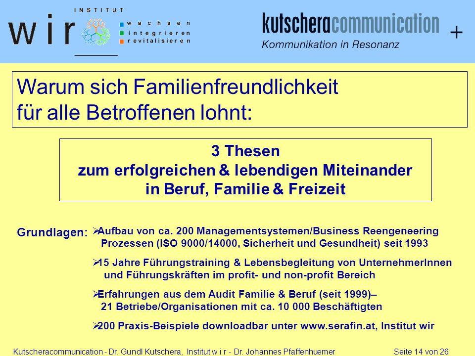 Kutscheracommunication - Dr. Gundl Kutschera, Institut w i r - Dr. Johannes Pfaffenhuemer Seite 14 von 26 Warum sich Familienfreundlichkeit für alle B