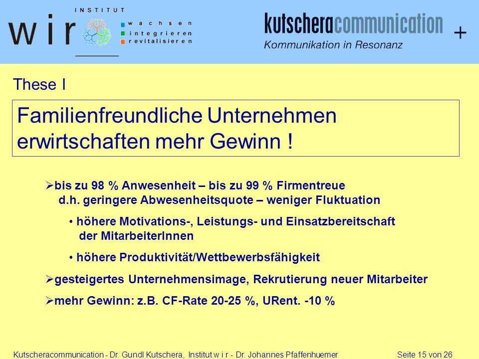 Kutscheracommunication - Dr. Gundl Kutschera, Institut w i r - Dr. Johannes Pfaffenhuemer Seite 15 von 26 Familienfreundliche Unternehmen erwirtschaft