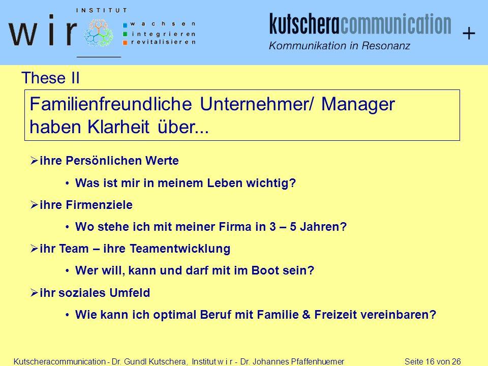 Kutscheracommunication - Dr. Gundl Kutschera, Institut w i r - Dr. Johannes Pfaffenhuemer Seite 16 von 26 These II ihre Persönlichen Werte Was ist mir