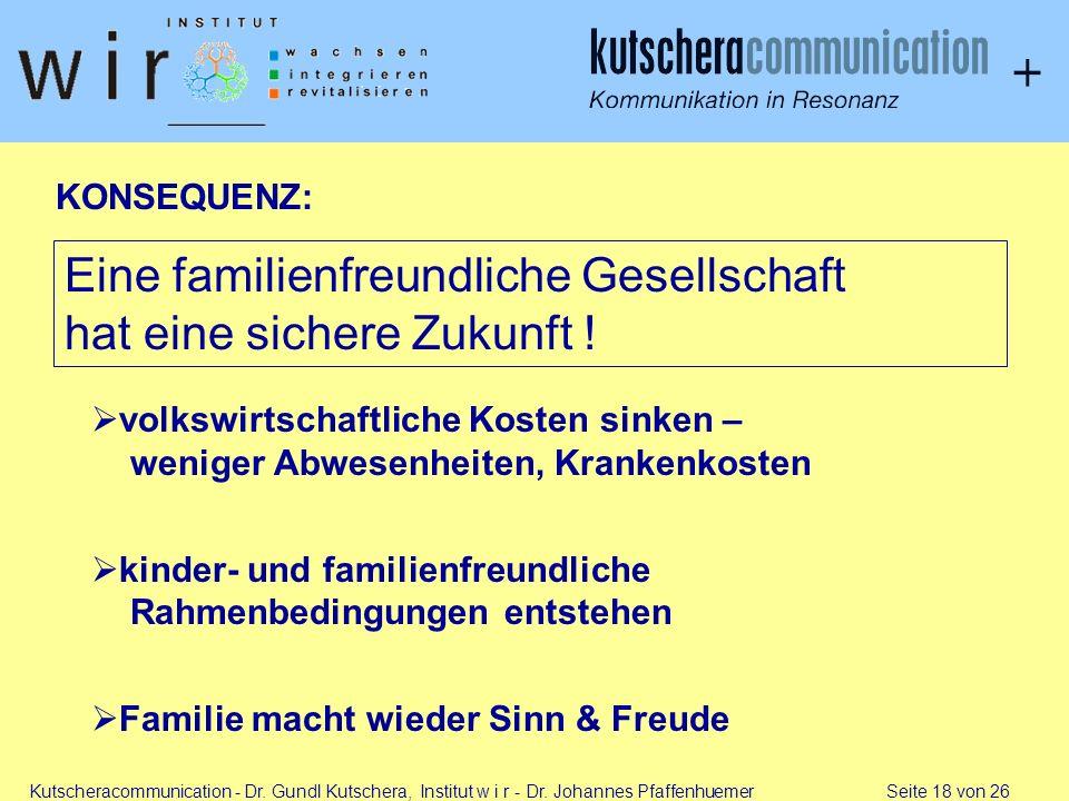 Kutscheracommunication - Dr. Gundl Kutschera, Institut w i r - Dr. Johannes Pfaffenhuemer Seite 18 von 26 KONSEQUENZ: Eine familienfreundliche Gesells