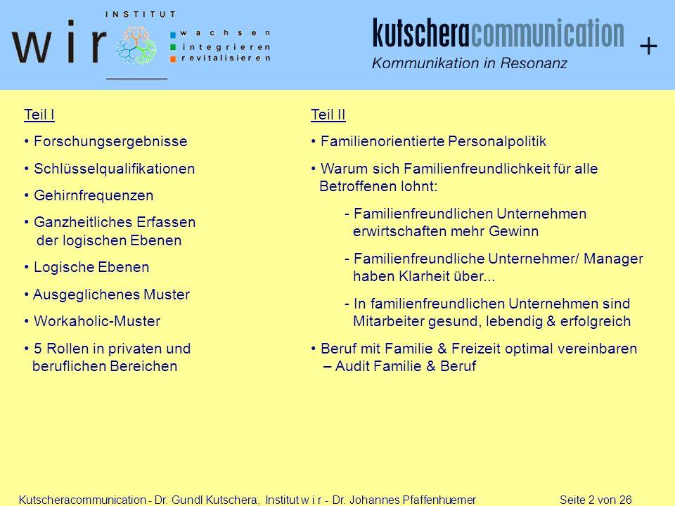 Kutscheracommunication - Dr. Gundl Kutschera, Institut w i r - Dr. Johannes Pfaffenhuemer Seite 2 von 26 Teil I Forschungsergebnisse Schlüsselqualifik