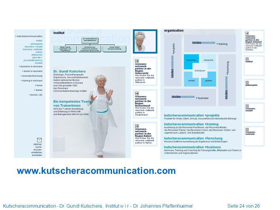 Kutscheracommunication - Dr. Gundl Kutschera, Institut w i r - Dr. Johannes Pfaffenhuemer Seite 24 von 26 www.kutscheracommunication.com