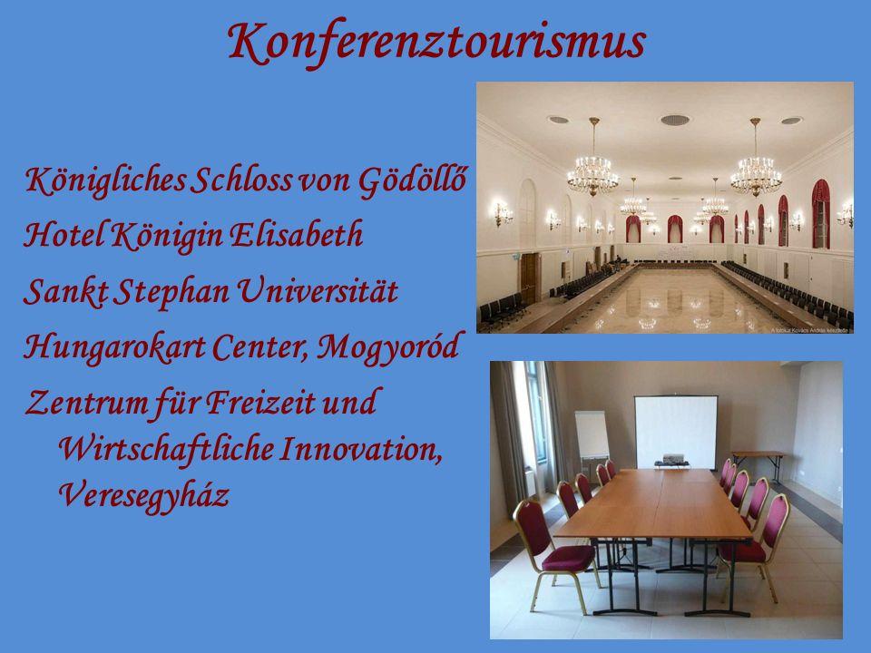 Konferenztourismus Königliches Schloss von Gödöllő Hotel Königin Elisabeth Sankt Stephan Universität Hungarokart Center, Mogyoród Zentrum für Freizeit und Wirtschaftliche Innovation, Veresegyház