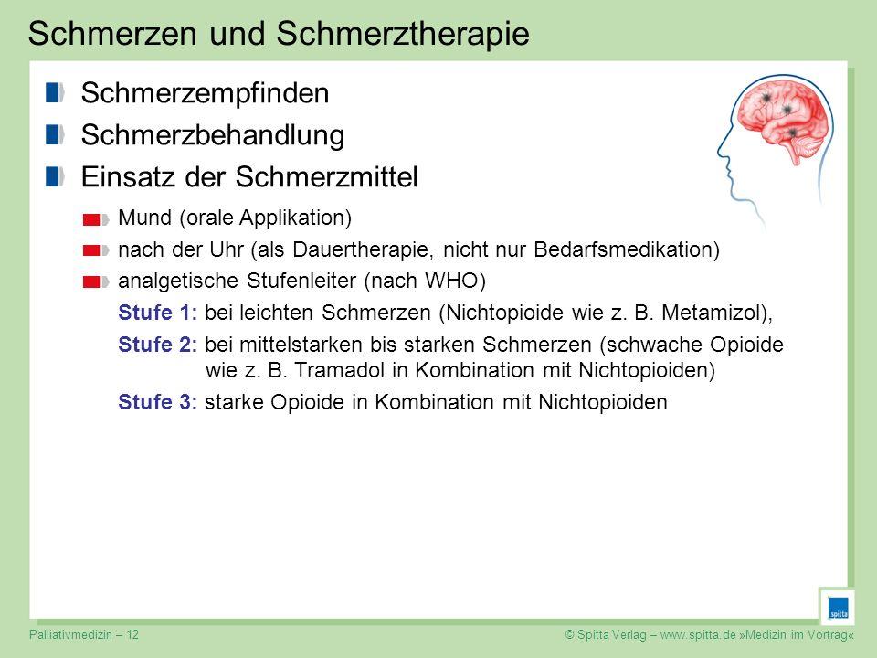 © Spitta Verlag – www.spitta.de »Medizin im Vortrag« Schmerzen und Schmerztherapie Schmerzempfinden Schmerzbehandlung Einsatz der Schmerzmittel Mund (
