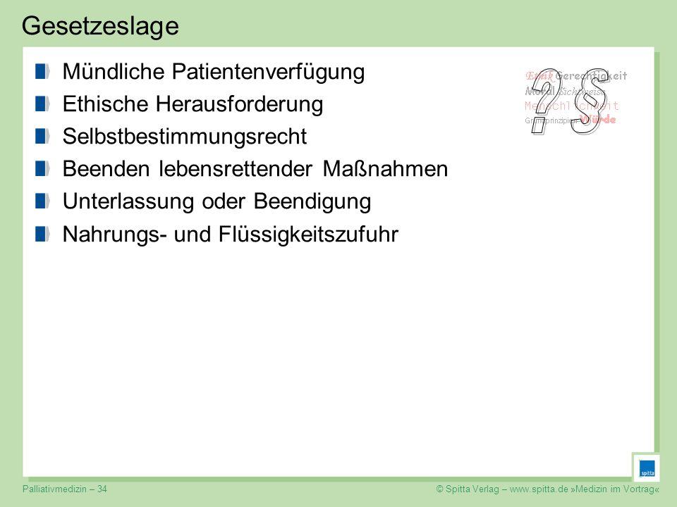 © Spitta Verlag – www.spitta.de »Medizin im Vortrag« Gesetzeslage Mündliche Patientenverfügung Ethische Herausforderung Selbstbestimmungsrecht Beenden