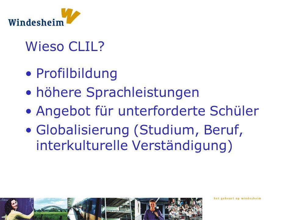 offene Fragen: CLILiG in NL eher modulär.Auswahl der Fächer: inhaltsorientiert oder Zufall.
