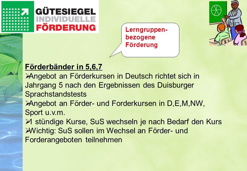 Förderbänder in 5,6,7 Angebot an Förderkursen in Deutsch richtet sich in Jahrgang 5 nach den Ergebnissen des Duisburger Sprachstandstests Angebot an F