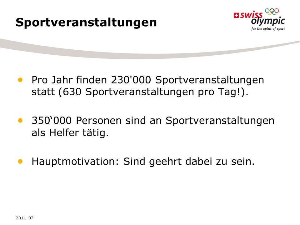 Sportveranstaltungen Pro Jahr finden 230 000 Sportveranstaltungen statt (630 Sportveranstaltungen pro Tag!).
