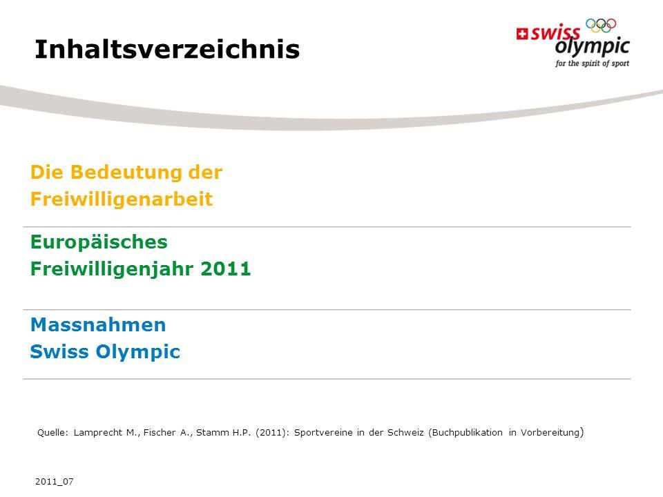 Inhaltsverzeichnis Die Bedeutung der Freiwilligenarbeit Europäisches Freiwilligenjahr 2011 Massnahmen Swiss Olympic 2011_07 Quelle: Lamprecht M., Fischer A., Stamm H.P.