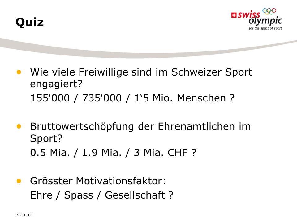 Quiz Wie viele Freiwillige sind im Schweizer Sport engagiert.