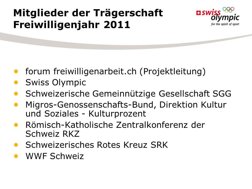 Mitglieder der Trägerschaft Freiwilligenjahr 2011 forum freiwilligenarbeit.ch (Projektleitung) Swiss Olympic Schweizerische Gemeinnützige Gesellschaft