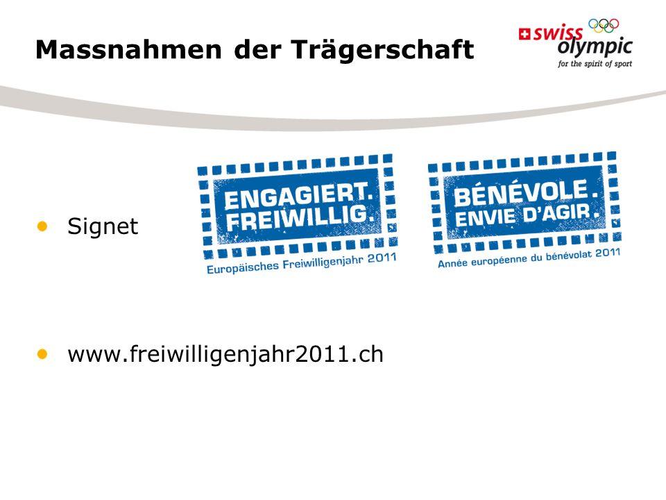 Massnahmen der Trägerschaft Signet www.freiwilligenjahr2011.ch