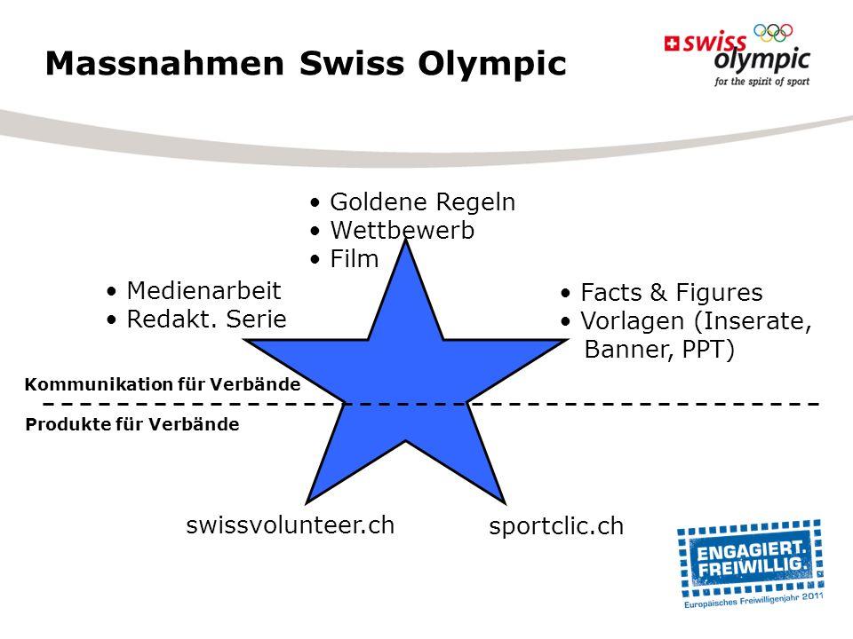 Massnahmen Swiss Olympic sportclic.ch swissvolunteer.ch Goldene Regeln Wettbewerb Film Facts & Figures Vorlagen (Inserate, Banner, PPT) Medienarbeit R