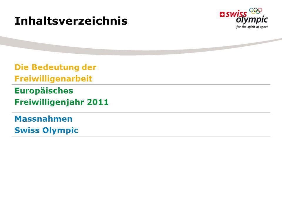Inhaltsverzeichnis Die Bedeutung der Freiwilligenarbeit Europäisches Freiwilligenjahr 2011 Massnahmen Swiss Olympic