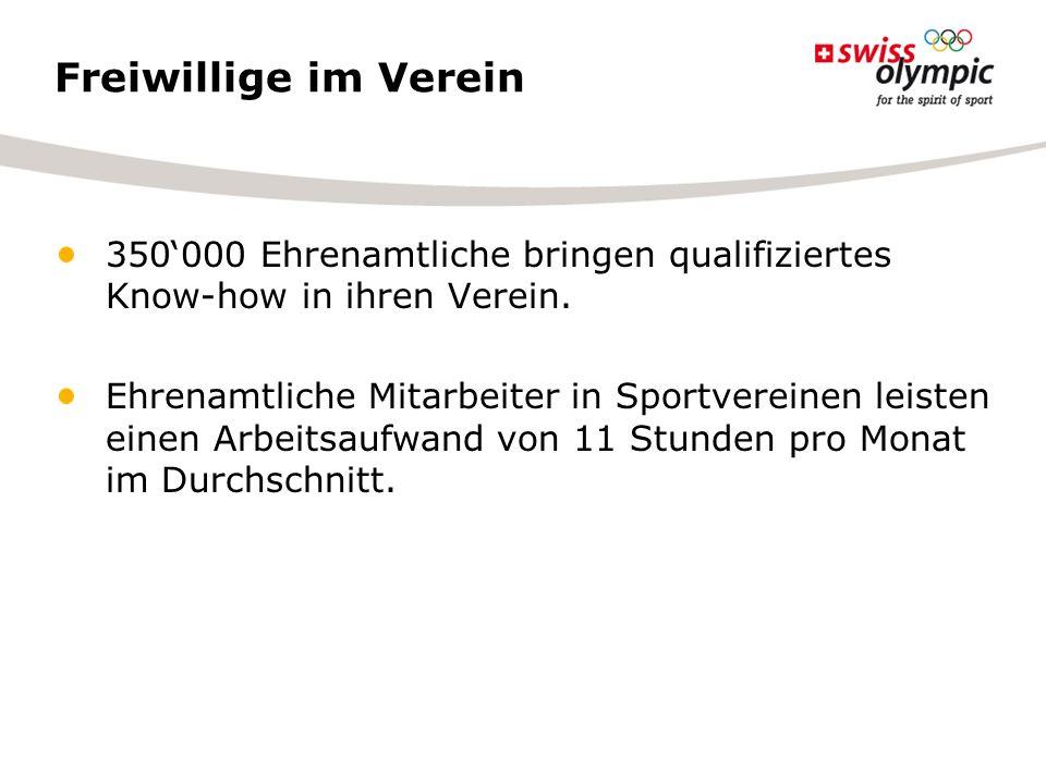 Freiwillige im Verein 350000 Ehrenamtliche bringen qualifiziertes Know-how in ihren Verein. Ehrenamtliche Mitarbeiter in Sportvereinen leisten einen A