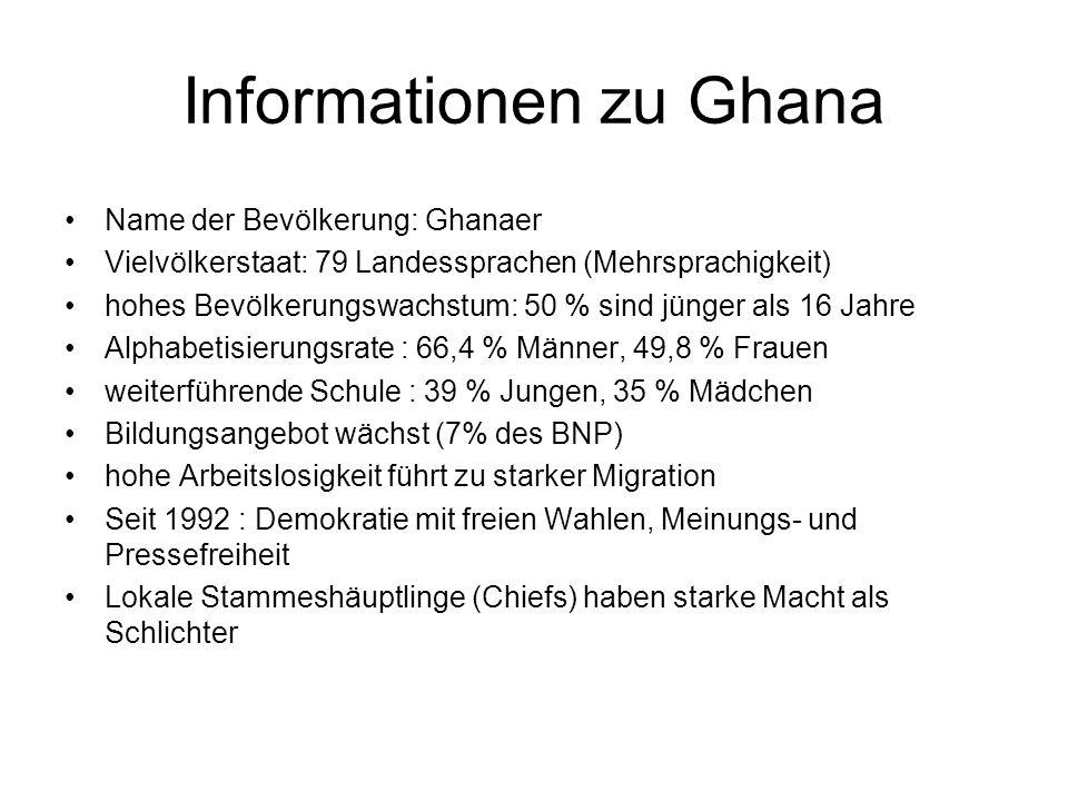 Informationen zu Ghana Name der Bevölkerung: Ghanaer Vielvölkerstaat: 79 Landessprachen (Mehrsprachigkeit) hohes Bevölkerungswachstum: 50 % sind jünge
