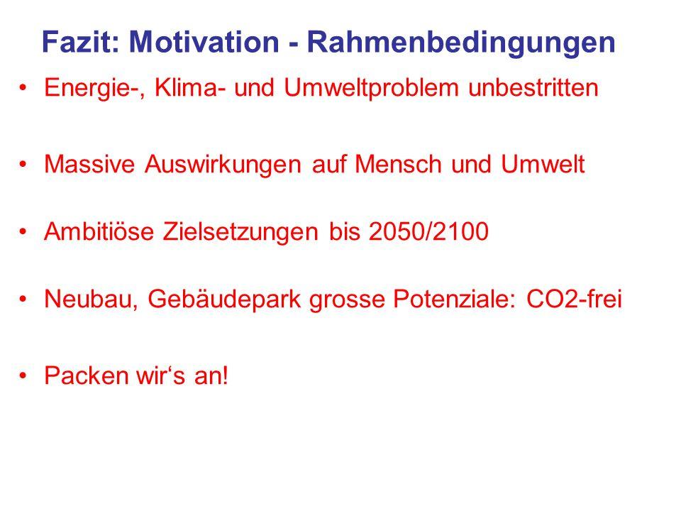 Fazit: Motivation - Rahmenbedingungen Energie-, Klima- und Umweltproblem unbestritten Massive Auswirkungen auf Mensch und Umwelt Ambitiöse Zielsetzung